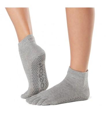 Toesox Ankle Grip Socks Grijs teensokken