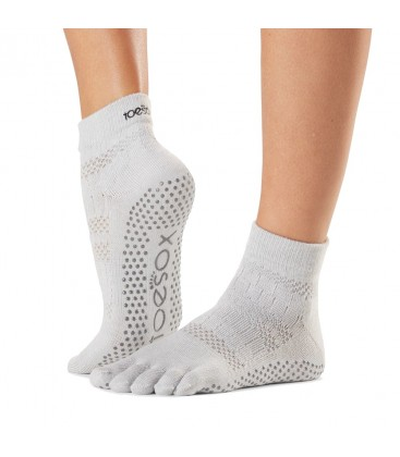 Toesox Ankle Grip Socks Wit teensokken