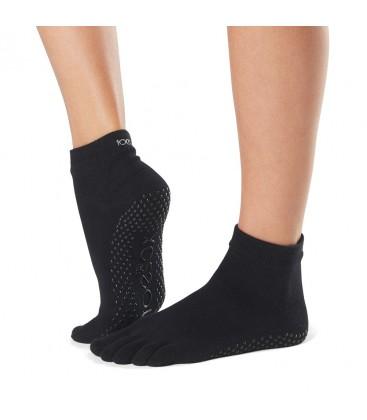Toesox Ankle Grip Socks Zwart teensokken