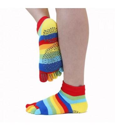 ToeToe Yoga & Pilatus Grip enkel teensokken rainbow